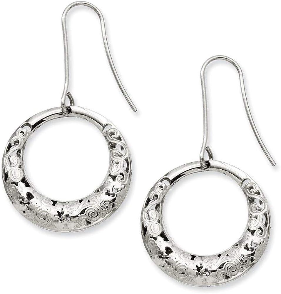 Stainless Steel Polished Fancy Dangle Earrings