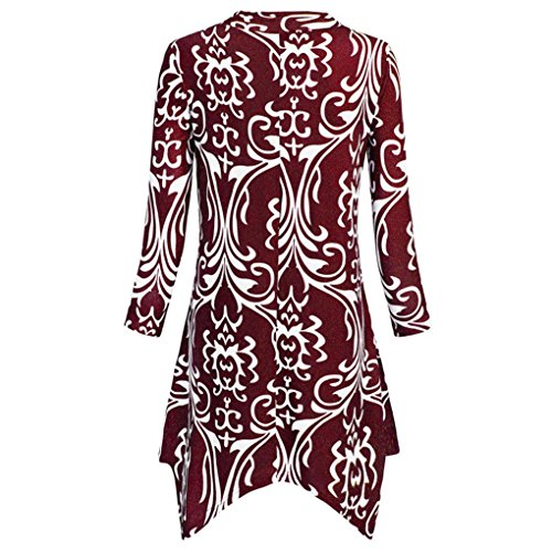 Trois Manches Femme Manches irrgulires Col Dcontract Rouge Manche Robe Floral Roiper et Imprim Bohme Longue Rayures Quarts Courtes Tunique V xO6wETq