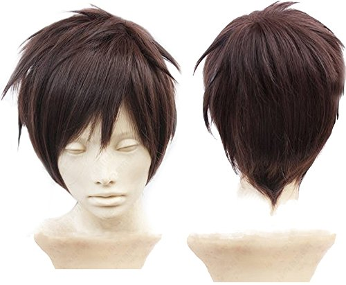 Anangelhair + Free Hair Cap Attack on Titan Eren Jaeger Dark Brown Anime Cosplay Wig (Attack On Titan Cosplay Eren)