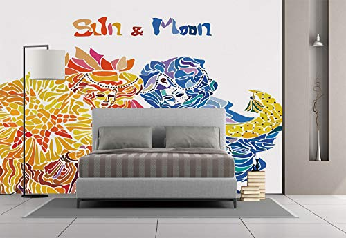 Large Wall Mural Sticker [ Sun and Moon,Moon and Sun in the Form of Venetian Festival Folk Magical Masquerade Myth Decorative,Multicolor ] Self-adhesive Vinyl Wallpaper / Removable Modern Decorating W for $<!--$59.99-->