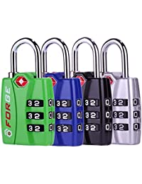 TSA travel luggage Locks 4 Pack Open Alert Indicator,Zinc Alloy Body, Easy Read Dials, black, blue,green,silver