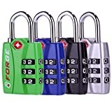 Forge TSA travel luggage Locks 4 Pack Open Alert Indicator,Zinc Alloy Body, Easy Read Dials, black,...