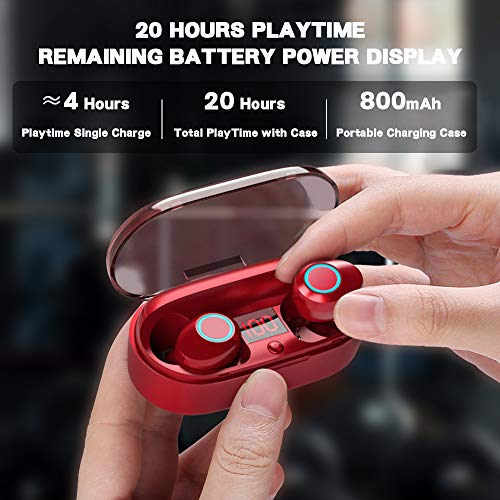 True Wireless Earbuds, 20H Playtime, Volume Control, Bluetooth Headphones 5.0 Mini Stereo Headset with Microphone, IPX5 Sweatproof, Hi-Fi Sound, in Ear Earphones with Portable Charging Case Red