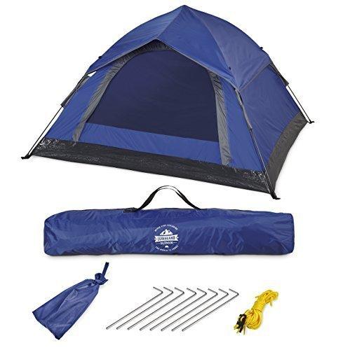 Lumaland Outdoor leichtes Pop Up Wurfzelt 3 Personen Camping robust verschiedene Farben Blau