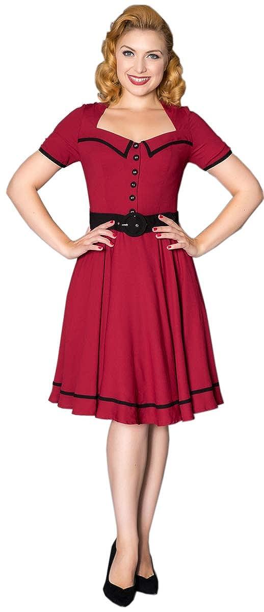 Sheen CARRLA Vintage FLORAL Two-Tone Retro Kurzarm SWING Dress Kleid Rockabilly