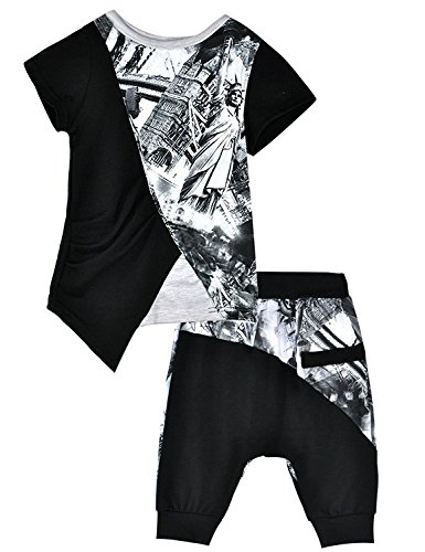 Little Hand Kids Toddler Little Boy's Clothes 2 Piece Printed T-shirt Tops + Harem Pants Short Outfits Set ,Black,(4-5 (3 Piece Harem)