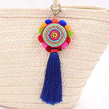 Llavero de borla estilo étnico con borla y colgante de bolso ...