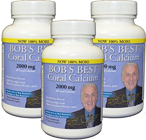 Bob's Best Coral Calcium 2000mg, 3 PACK of 90 Caplets NEW IMPROVED FORMULATION! by Bob's Best