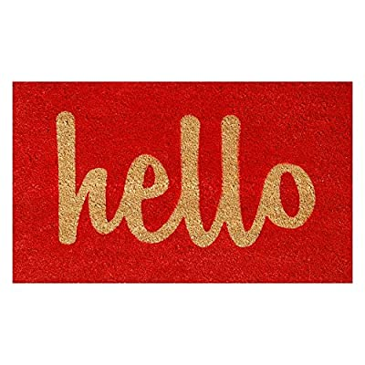 Home & More Hello Script Red Outdoor Doormat