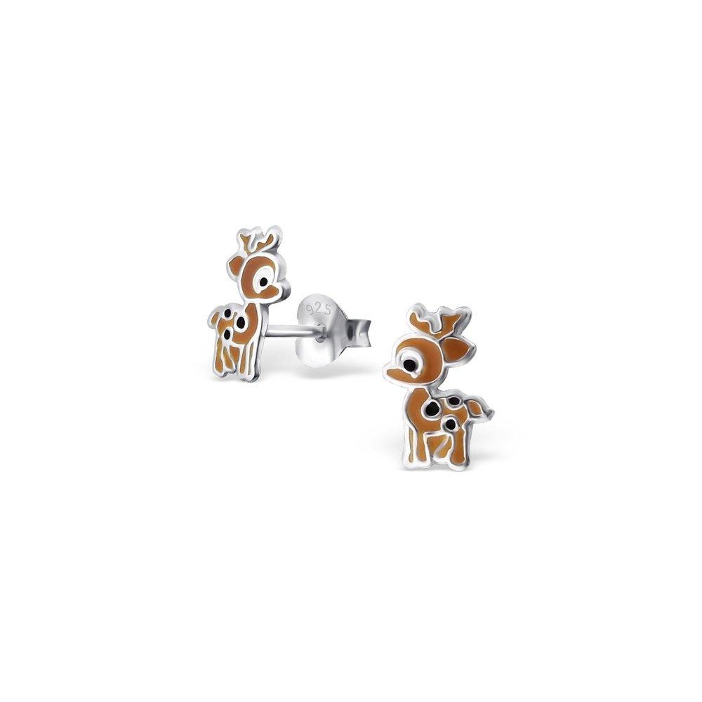 Deer Silver Ear Studs Plated 925 Sterling Girls Jewelry