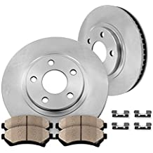 FRONT 278 mm Premium OE 5 Lug [2] Brake Disc Rotors + [4] Ceramic Brake Pads + Clips
