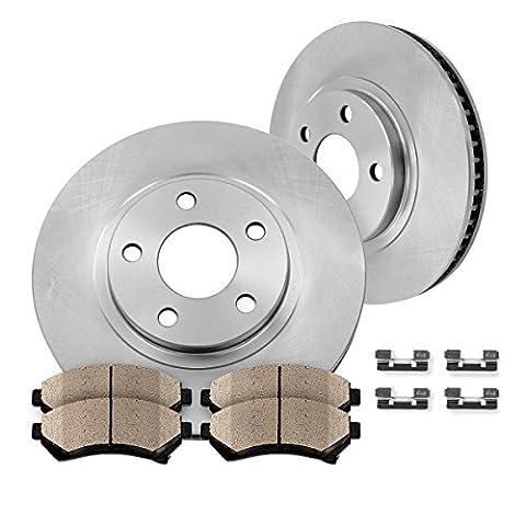 FRONT Premium OE 256 mm [2] Rotors + [4] Quiet Low Dust Ceramic Brake Pads + Pad Hardware Clips Kit CK007379