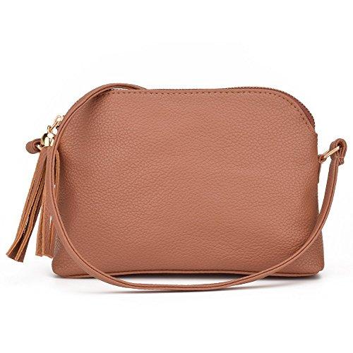Small Purse (Jiaruo Women's Soft Leather Fashion Cross Body Shoulder Bag Mini Shell Bag (brown))