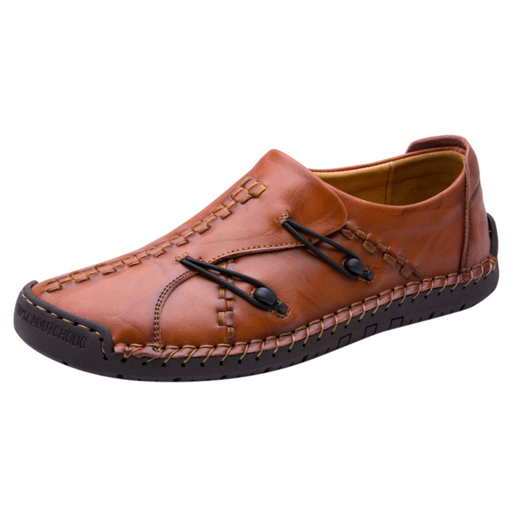Respctful✿Mens Penny Leather Loafers Casual Loafers Driving Lace Up Shoes Oxfords Comfortable Slip On Shoes Breathable Brown by Respctful_shoes