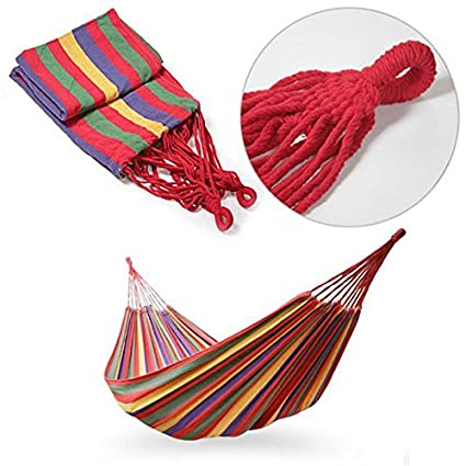 Sellify Portable Cotton Rope Outdoor Swing Fabric Camping Hanging Hammock Canvas Bed