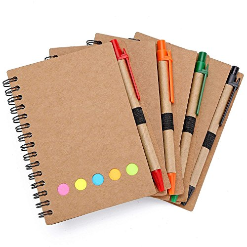 4 Pack Spiral Notebook Kraft Paper Notepad with Pen in Holder and Sticky Notes, Page Marker Colored Index Tabs Flags (Brown Cover) by KisSealed