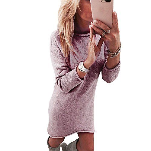 Lowprofile Long Sweater Dress Women Casual Winter Long Sleeve O Neck Solid Mini Dress Pink