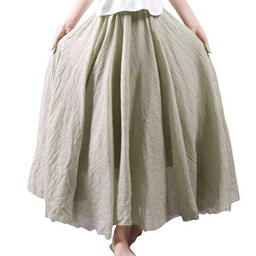 double Nlife Jupe coton lastique Jupe femme lin paisseur pour Beige et Taille en maxi longue 7R7w8qxr