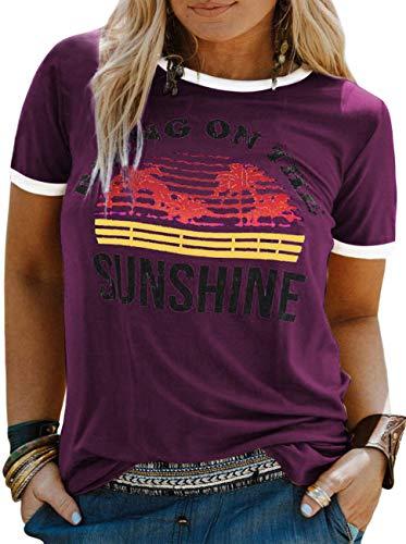 YASAKO Plus Size Women Tops Short Sleeve T Shirts Bring On The Sunshine Casual Tee Shirts Cute Graphic Tunic, Purple, X-Large