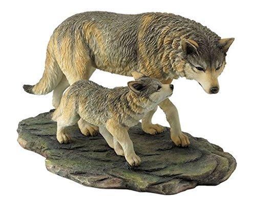 10.75 Inch Animal Figurine Wolf and Cub Walking Black Ochre White Gray ()