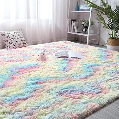 51Ebk0wusSL. AC - Junovo Soft Rainbow Area Rugs For Girls Room, Fluffy Colorful Rugs Cute Floor Carpets Shaggy Playing Mat For Kids Baby Girls Bedroom Nursery Home Decor, 4ft X 6ft