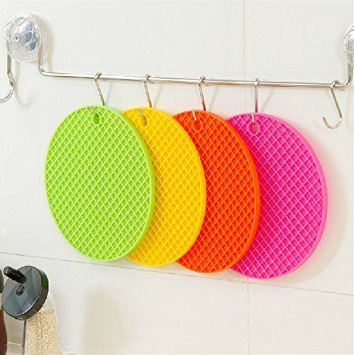 ZIZLY Round Silicone Hot Pot Holder Mat Heat Resistant Disc Pads Kitchen Insulation Anti-Slip Coasters Dining Table Mat (Pack of 1, Multicolor)