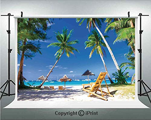 Seaside Photography Backdrops Sun Bed Under Palm Trees Tropical Oceanside in Boracay Island Image Print,Birthday Party Background Customized Microfiber Photo Studio Props,10x6.5ft,Green Blue and White]()
