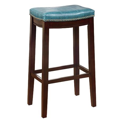 Fabulous Linon Claridge 30 Bar Stool In Blue Andrewgaddart Wooden Chair Designs For Living Room Andrewgaddartcom