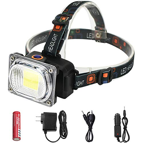 POCKETMAN LED Headlamp Rechargeable 2019 Version,COB High Bright Flood Light Waterproof Work Light for Camping, Fishing, Jogging, Hiking (Best Headlamp For Hiking 2019)