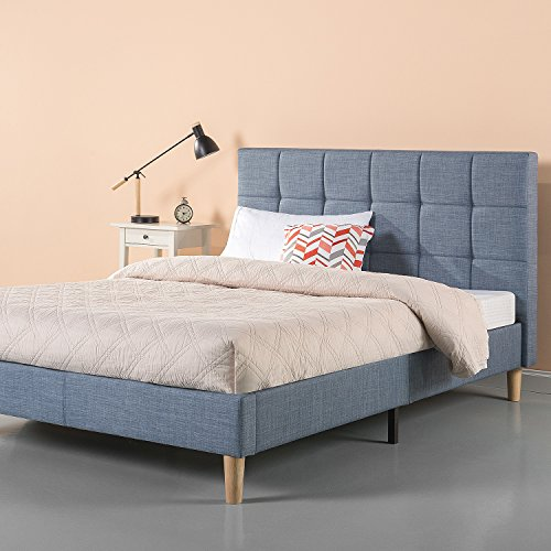 Zinus Lottie Upholstered Square Stitched Platform Bed in Light Blue , Queen,