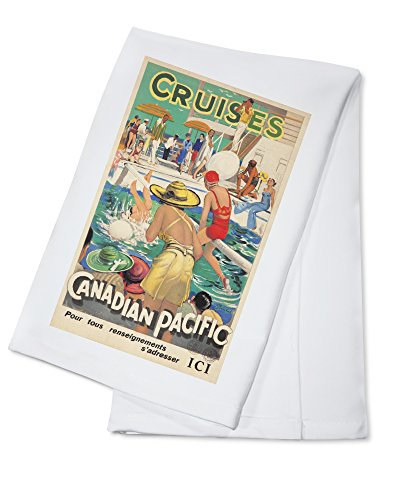 Canadian Pacific Cruises Vintage Poster (artist: Barribal, William H.) c. 1934 (100% Cotton Kitchen Towel)