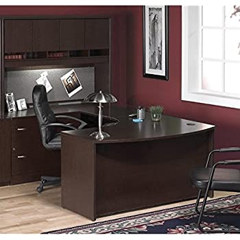 Bush Furniture Corsa Series U Shape Wood Home Office Set With Hutch In  Mocha Cherry