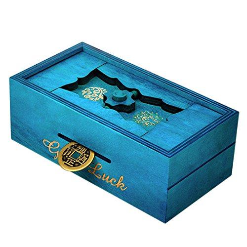 Casse-tête en Bois, Lommer Boîte de Monnaie magique Secret Trick Intelligence, Brain Teaser Logique Gift Box, Jouet éducatif pour Enfant/adulte (Bleu)