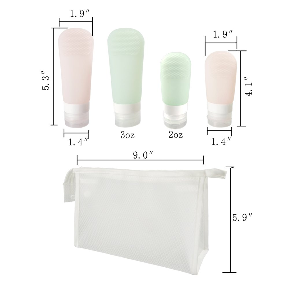 Silicone Travel Bottles Portable Soft Set 4 Pack Leak Proof Cosmetic Travel Containers for Liquids with Clear Travel Bag by RIZUIEI (Image #7)