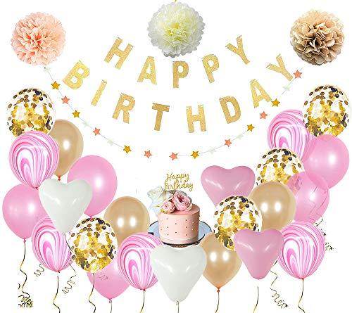 [30 Piezas] Kit / Set de Globos Champán Y Rosa + Guirnaldas para cumpleaños | Letrero Happy Birthday + Globos Metálicos +...