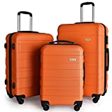 Luggage Set Spinner Trolley Suitcase Hard Shell Carry On 20″ 24″ 28″ (Orange)