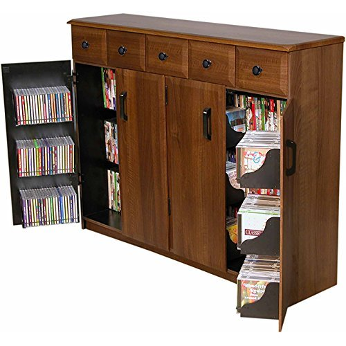 Venture Horizon Media Cabinet With Drawers- - Storage Walnut Cabinet Dvd