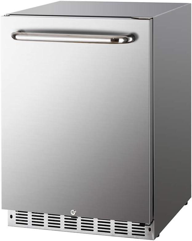 HCK 5.3 Cu.Ft 142 cans Indoor/Outdoor Refrigerator, Built-in Beverage Cooler with Reversible Door, Stainless Steel