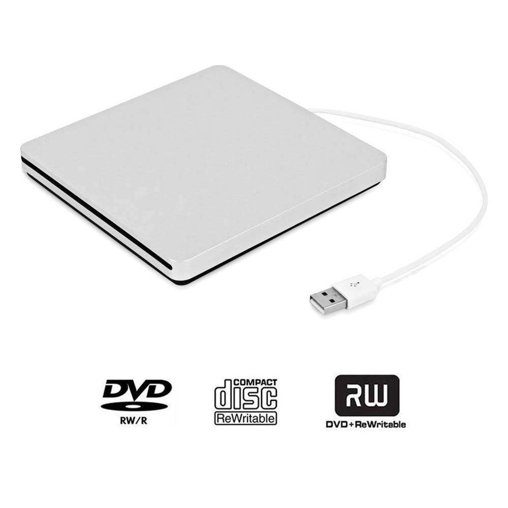 DVD Drive PC DVD Drive Computer CD Drive USB External Ultra-Thin Portable DVD-ROM CD-ROM Burner/Player/rewriter/Super Drive to Provide high-Speed Data Transfer Service Laptop Desktop (Silver)