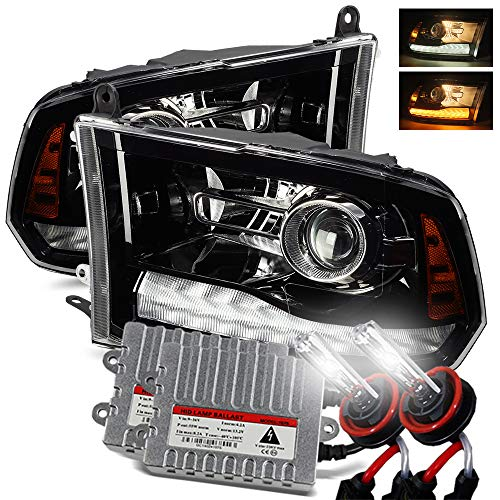 AlphaRex 6000K Xenon/Polished Black For 09-18 Ram 1500/10-18 Ram 2500/3500 Dual/Quad Projector Headlights Upgrade Kit