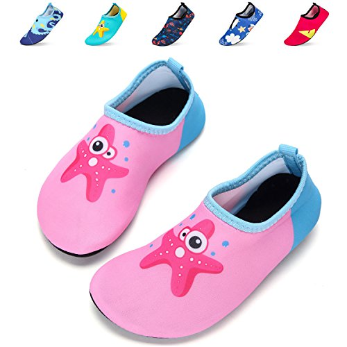 DKRUCAK Girls Boys Water Shoes Lightweight Quick-Dry Barefoot Aqua Socks Shoes For Lawn Pool Dance (5-5.5 M US Toddler= 20-21 EU, Haixing Pink)