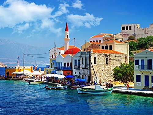 - Art Silk Fabric Cloth Rolled Wall Poster Print - Greece Dock Boat Building - (Size:28x20 Inches)