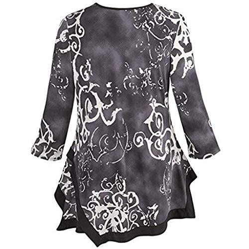 Pull Noir Femmes neck Longues tefamore Tops Imprimer Chemisier Irrégulière O Hem Manches Chemise 87BqU1