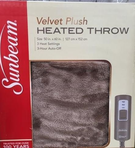 Sunbeam Velvet Plush Heated Throw Blanket 60