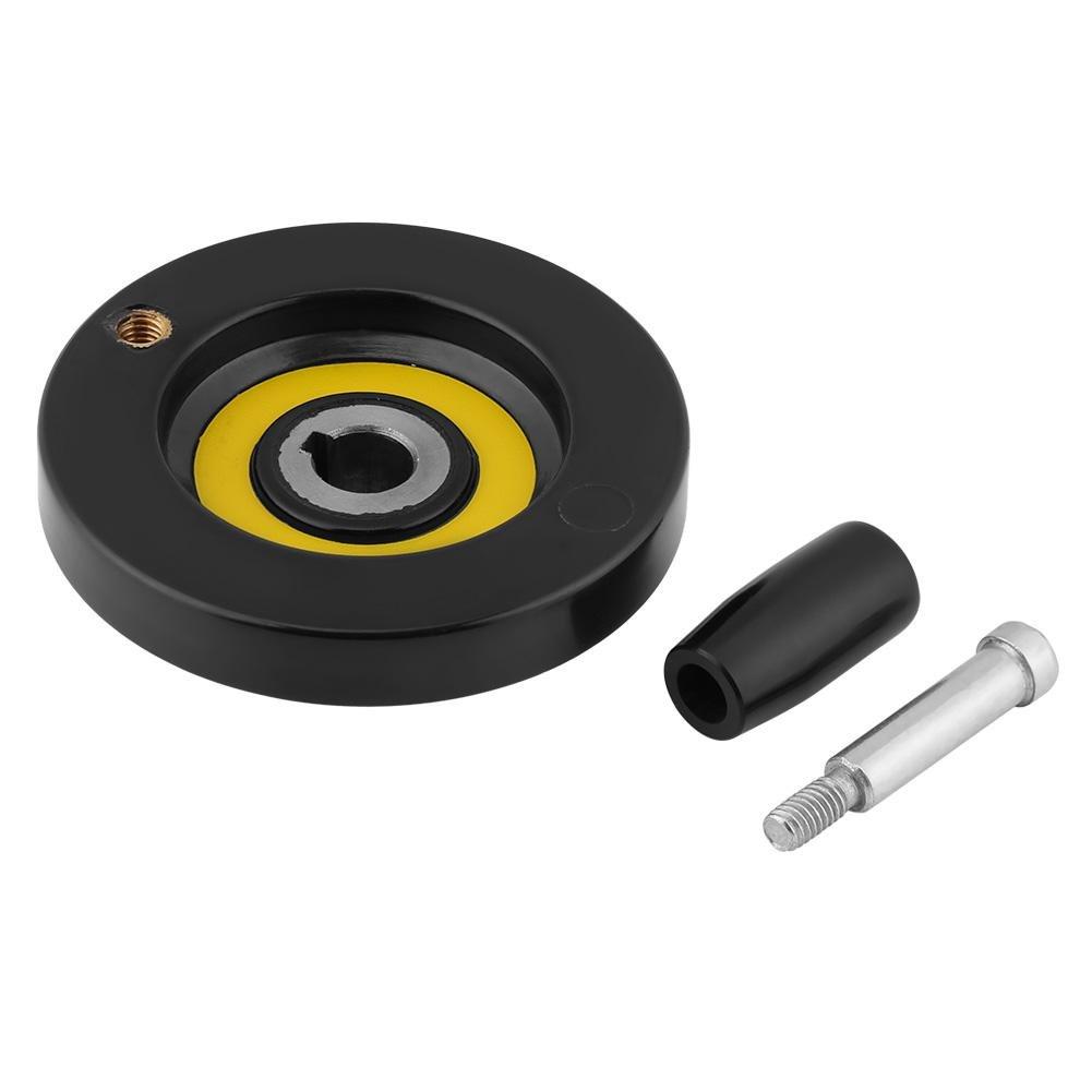 1 piezas de baquelita negra torno de fresado rueda trasera de la mano con la manija giratoria extraí ble(12 * 80mm) GLOGLOW