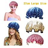 Image of Shower Cap-Women Waterproof Shower Bath Cap, Vinyl material, elastic band, extra large but won't fall off your head,Adult, / Teen (blue+yellow+red)