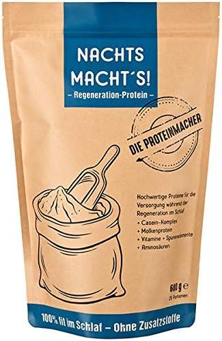 NACHTS MACHT'S - Proteinpulver - Schlafen Sie sich fit! Proteine (Eiweiß) für die Nacht. Power für den Tag. (600 Gramm Pulver)