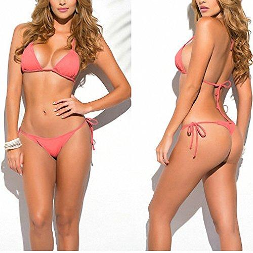- Womens Classic Thong String Bikini Scrunch Butt Women's Swimwear Female Sexy Solid Triangle top Set Beach Swimsuit Sex Biquines 1667 Coral Size fits all