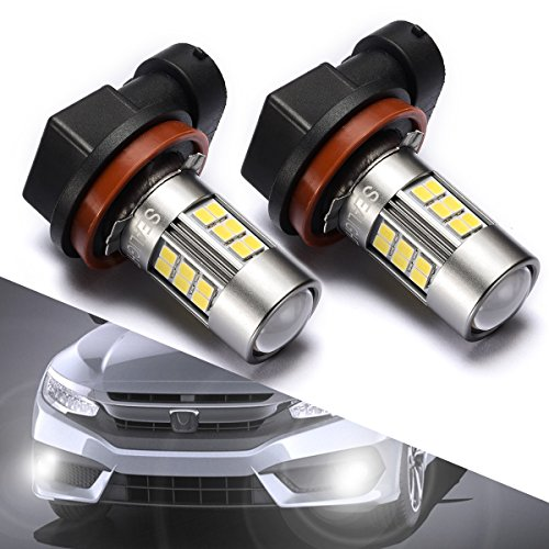 H11/H16/H8 LED Fog Lights Bulbs or DRL, DOT Approved, SEALIGHT Xenon White 6000K, 27 SMD, 2 Yr Warranty (Pack of 2)