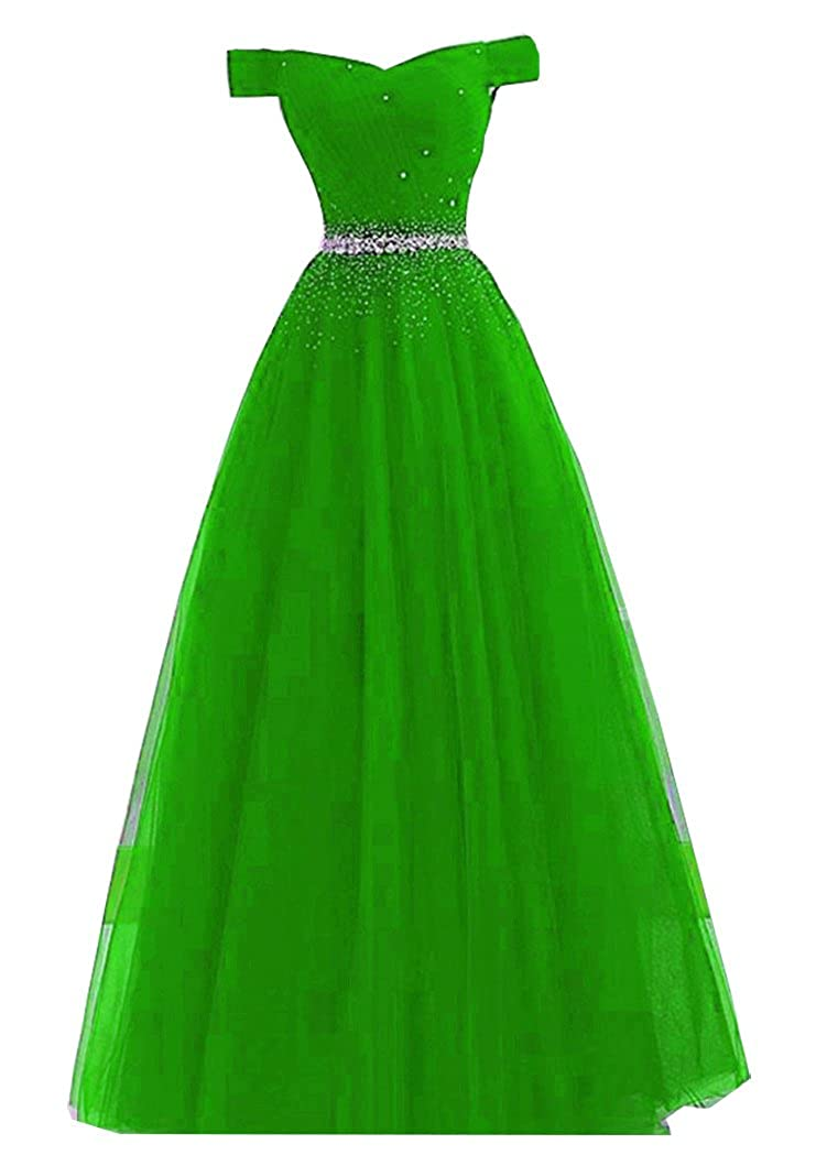 Lime Green Fanciest Women's Off The Shoulder Beaded Prom Dresses Long 2019 Ball Gown Evening Formal Dress